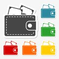 Wallet icons stickers set