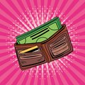 Wallet money accessory pop art style