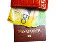 Wallet with money and passport on isolated white Stock Images