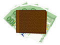 Wallet with one hundred euro banknotes and credit cards Stock Photo
