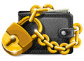 Wallet with padlock closed on the lock economy concept Royalty Free Stock Photos