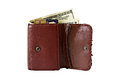 Wallet shabby leather with money and credit card Stock Photography