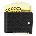 Wallet with two hundred euro banknotes on a white background Royalty Free Stock Photo