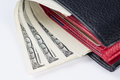 Wallet with 100 U.S. dollars bills. Close-up. Royalty Free Stock Photo