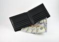 Wallet and US dollars Royalty Free Stock Photo