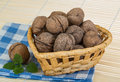 Wallnut in the basket on wooden background Stock Image
