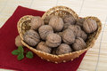 Wallnut in the basket on wooden background Royalty Free Stock Image