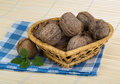 Wallnut in the basket on wooden background Royalty Free Stock Images