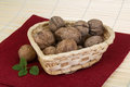 Wallnut in the basket Royalty Free Stock Photo