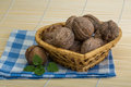 Wallnut in the basket on wooden background Stock Photography