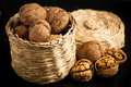 Wallnuts on a table in small baskets Royalty Free Stock Photo