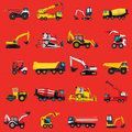 Wallpaper with construction machinery set on red. Ground works background.