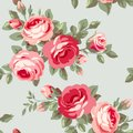 Wallpaper with flowers seamless pattern red roses Stock Images