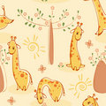 Wallpaper with giraffes Stock Photography