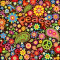 Wallpaper with hippie symbolic and paisley watermelon and flowers Stock Photos