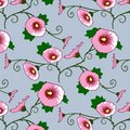 Wallpaper with a pink flowers pattern Royalty Free Stock Image
