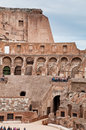 Walls and arcs inside Colosseum at Rome Stock Photos