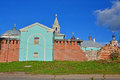 Walls and domes of churches of Borisoglebsk monastery in Torzhok city, Russia Royalty Free Stock Photo