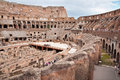 Walls and passages inside colosseum at Rome Royalty Free Stock Photo