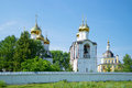 At walls of the Sacred and Nikolsky Pereslavsky monastery in the sunny July afternoon. Pereslavl-Zalessky Royalty Free Stock Photo