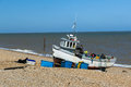 Walmer kent boat on the beach at england uk Royalty Free Stock Photos