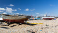 Walmer kent boats on the beach at england uk Royalty Free Stock Photography