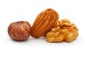 Walnut almond nut and hazelnut isolated on white background Stock Photo