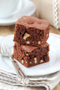 Walnut brownies Royalty Free Stock Images