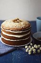 Walnut carrot cake moist with swiss meringue buttercream Stock Image
