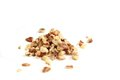 Walnut crumbs bunch of on white background Royalty Free Stock Photo
