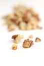 Walnut crumbs in foreground on white background Stock Photography