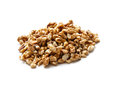 Walnut half heap on white background Royalty Free Stock Image