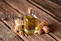 Walnut oil in the bottle Royalty Free Stock Photo