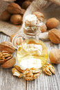 Walnut Oil Bottle Royalty Free Stock Photo