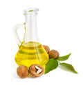 Walnut oil in a glass jug Royalty Free Stock Photography