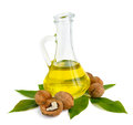Walnut oil in a glass jug Stock Images
