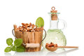 Walnut oil and nuts Royalty Free Stock Photo