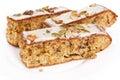 Walnut pie under a sweet glaze celebration good cheer christmas cakes Stock Image