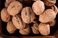 Walnut walnuts in bowl with close up Stock Photos