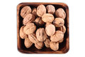 Walnut walnuts in bowl with close up Royalty Free Stock Images