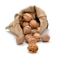 Walnuts and a bag on white Royalty Free Stock Images