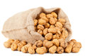 Walnuts in burlap bag Stock Photography