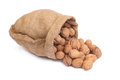 Walnuts in burlap bag Royalty Free Stock Image