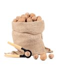 Walnuts in burlap bag on white background Royalty Free Stock Image