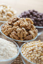 Walnuts, cashews, sesame seeds, Stock Photos