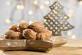 Walnuts with Christmas tree Royalty Free Stock Photo