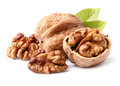 Walnuts in closeup on a white background Royalty Free Stock Photography
