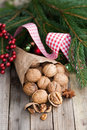 Walnuts fresh on wooden ground Royalty Free Stock Image