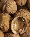 Walnuts full frame walnut background with open nutshell Stock Photo