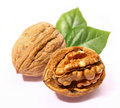 Walnuts with leaf Royalty Free Stock Photos